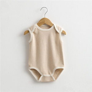 2017 Summer new Boy girl clothing natural Organic colored cotton baby infant jumpsuit sleeveless Newborn Rompers baby clothes
