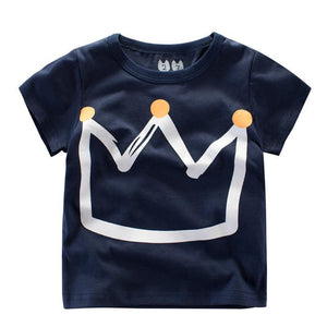 Crown print blue Summer Kids Boys T Shirt Crown Print Short Sleeve Baby Girls T-Shirts Cotton Children's T-Shirt O-Neck Tee Tops Boy Clothes
