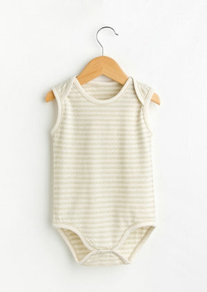 Stripped Sleeveless Baby Onesie