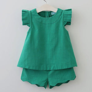 Green girl two piece outfit