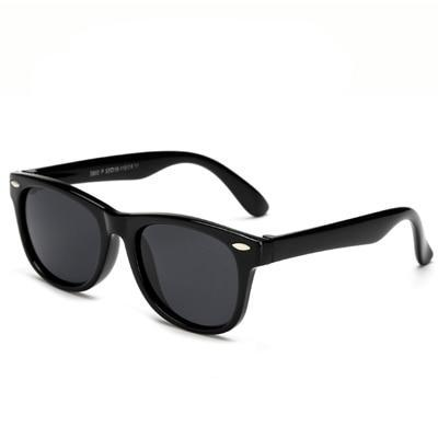 Super cool all black polarized child safe sun glasses, with UV400 lenses.