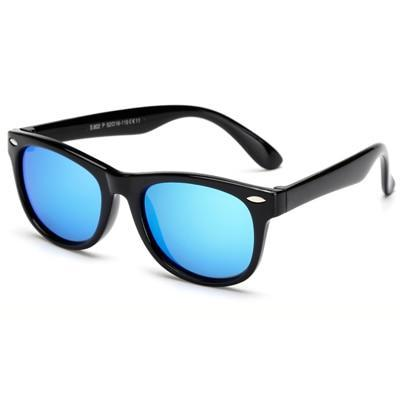Super cool black polarized child safe sun glasses, with UV400 lenses.