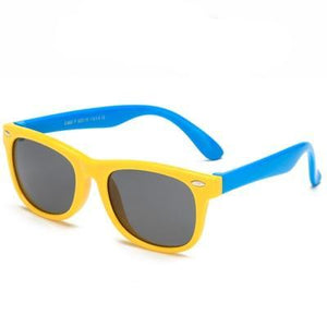 Super cool yellow polarized child safe sun glasses, with UV400 lenses.