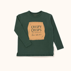 Round neck, dark green, long sleeve shirt