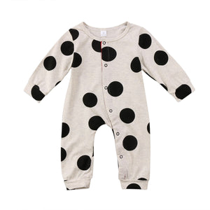 Cotton baby polka dot rompers