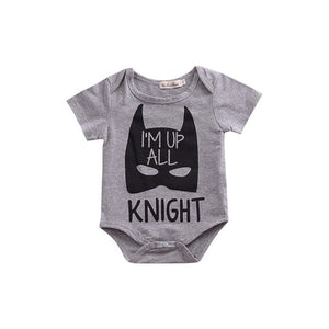 "Grey Baby onesie with batman print and ""I'm up all knight"" message."