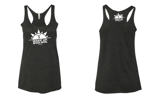 Women's Black Wake Up. WOD. WIN! Tank tops.