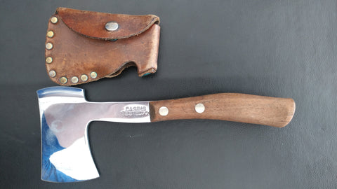 Case XX Tested Hatchet, With Brown Leather Case, Wooden Handle