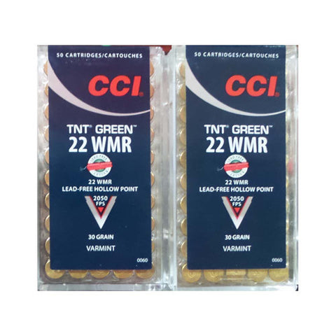 CCI 22 WMR TNT Green Lead-Free Hollow Point 30 Grain 50 Rds.