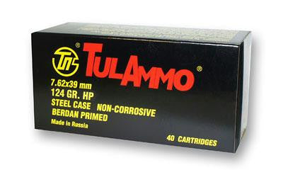 Tulammo 7.62 x 39mm 124 Grain HP Steel case Non-corrosive 40 Cartridges - Action Arms by Mark, LLC