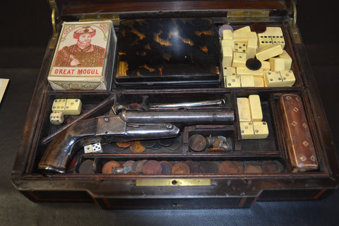 French Gaming Set with a 1880's French Double Barrell 41 Caliber Pistol.