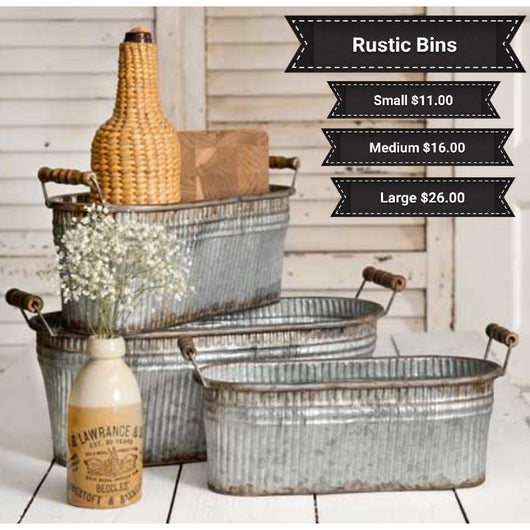 Large Rustic Bin With Handle,  - Thomas Ann Decor