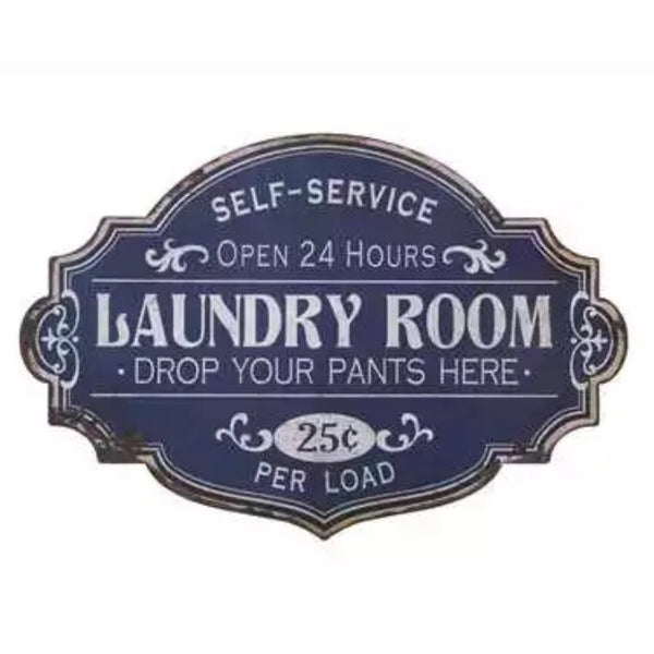 Metal Blue Laundry Room Sign, Home Decor - Thomas Ann Decor