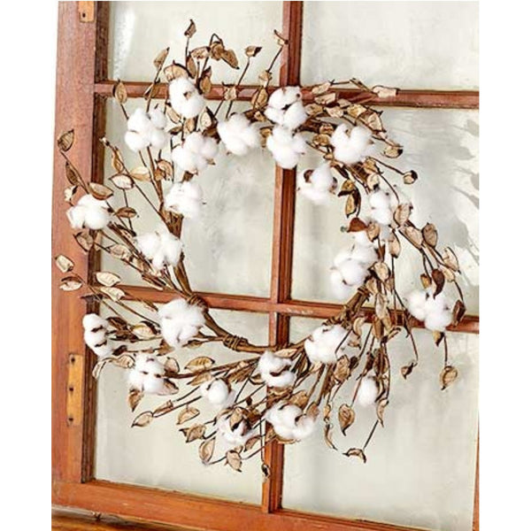 "19"" Cotton Wreath,  - Thomas Ann Decor"