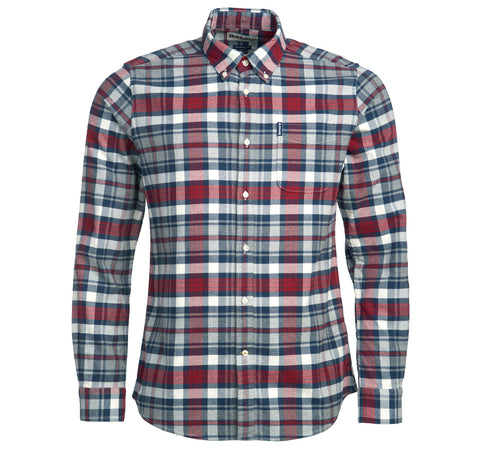 Front view of the Barbour Highland Check 31 Flannel Shirt in Red.