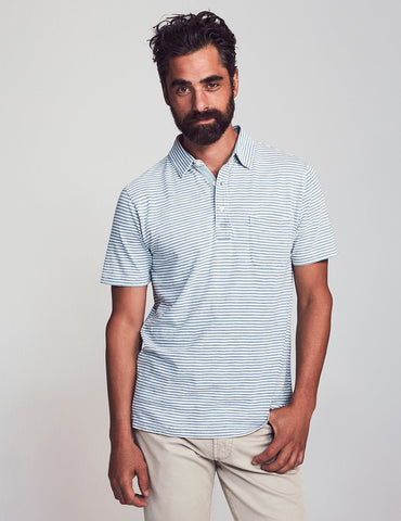 Short-Sleeve Salt Wash Indigo Stripe Polo – Faherty