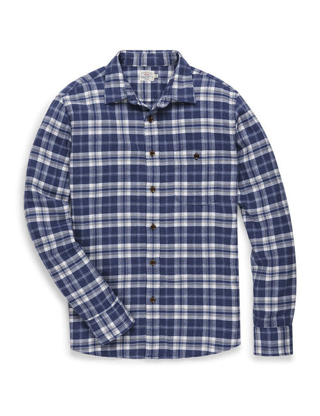 Flat lay down view of the Faherty Navigator Plaid Seaview Flannel Shirt.
