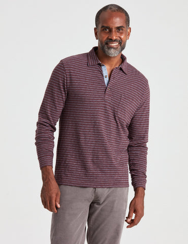 Long-Sleeve Luxe Striped Heather Polo – Faherty