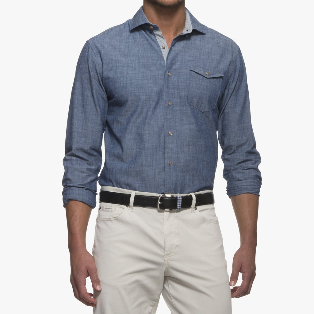 e042b696f67 Johnnie-O Lucas Chambray Sport Shirt – John Hyatt Clothing