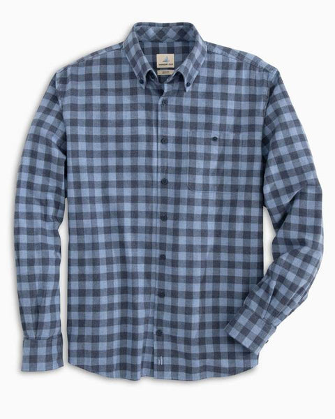 A flat view of the Hawkins flannel shirt from Johnnie-O in color Laguna Blue.