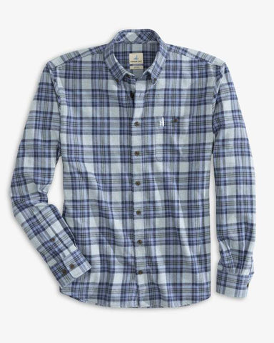 "Flat view of the Keller ""Hangin' Out"" Button Down Shirt from Johnnie-O in color Laguna Blue."