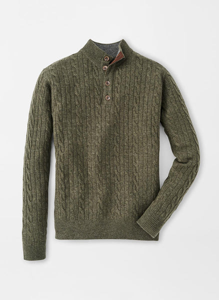 Peter Millar Four-Button Cable Mock Sweater