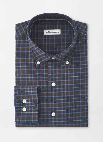 Peter Millar Crown Finish Stretch Grafton Plaid Sport Shirt