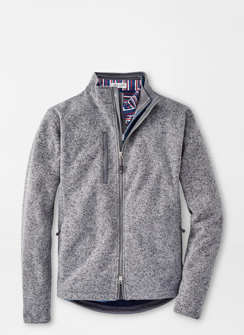 Flat view of the Peter Millar Condor Sweater Fleece Jacket in Gale Grey.