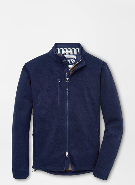 Flat view of the Peter Millar Condor Sweater Fleece Jacket in Navy.