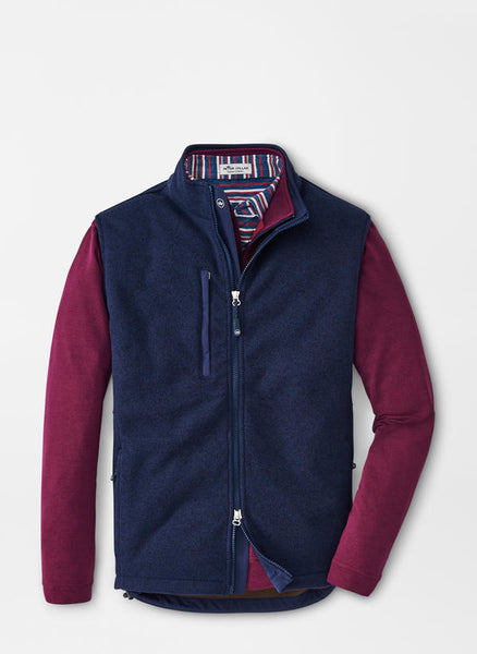 Flat lay down view of the Peter Millar Condor Sweater Fleece Vest in color Navy.