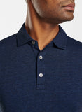 Close up view of the collar and buttons on the Peter Millar Crown Fleece Birdseye Long Sleeve Polo.