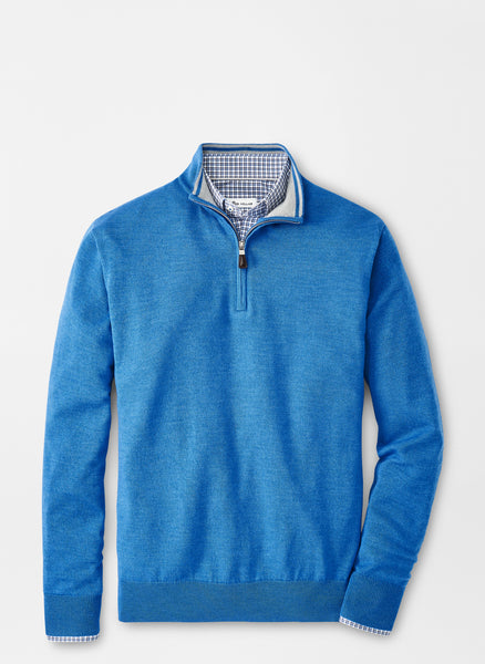 Lay down view of the Peter Millar Merino-Silk Quarter Zip Sweater in color Cape Blue.