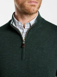 Close up neck view of the Jurrasic Green quarter zip merino sweater.