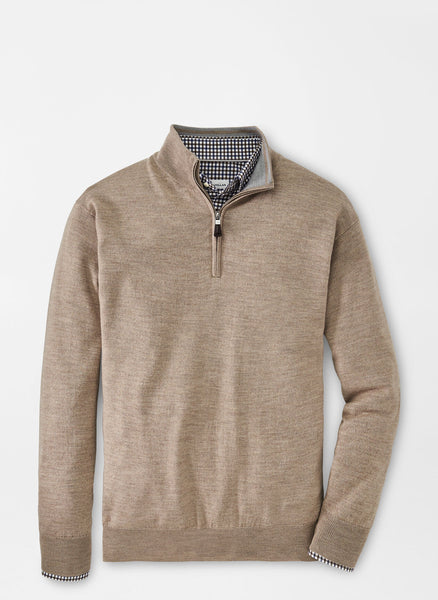 Lay down view of the Peter Millar Merino-Silk Quarter Zip Sweater in color  Oatmeal.