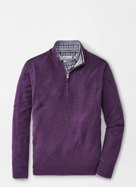 Lay down view of the Peter Millar Merino-Silk Quarter Zip Sweater in color  Plum Sorbet.