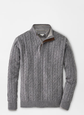 A flat lay down view of the Peter Millar Wool Cable Quarter Zip Sweater in color Gale Grey.