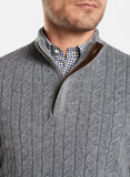 A close up look at the Gale Grey  Peter Millar Wool Cable Quarter Zip Sweater worn over a brown and navy check shirt.