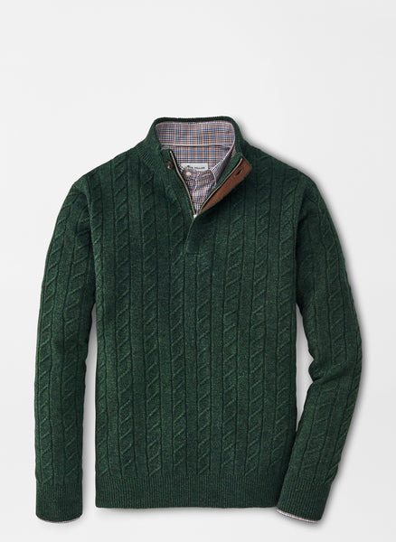 Flat lay down view of the Peter Millar Wool Cable Quarter Zip Sweater in Jurassic Green.