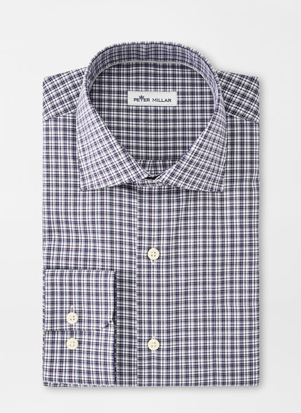Neatly folded Navy Crown Ease Curtis Sport Shirt from Peter Millar.