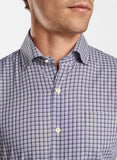 Close up view showing the spread collar on the Peter Millar Crown Ease Curtis Sport Shirt.