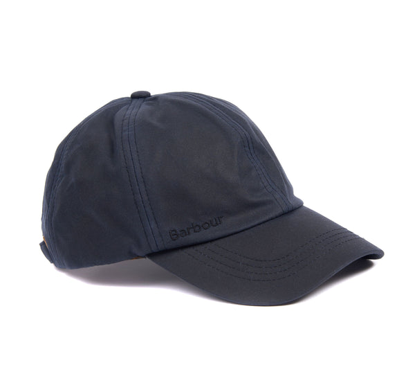 Right side view of the Barbour Prestbury Waxed Sports Cap in Navy.
