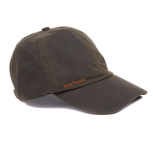 Right side view of the Barbour Prestbury Waxed Sports Cap in Olive with embroidered logo visible.