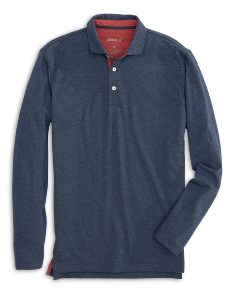 Front lay down view of the Person Long Sleeve Polo in color Wake from Johnnie-O.