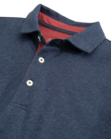 Close up view of the collar and front buttons on the Person Long Sleeve Polo from Johnnie-O.