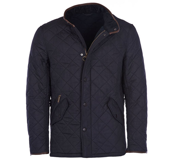 Front view of the Barbour Powell Quilted Jacket in Navy.