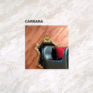 Carrara produces the stone effect of marble with streaks of silver and gold
