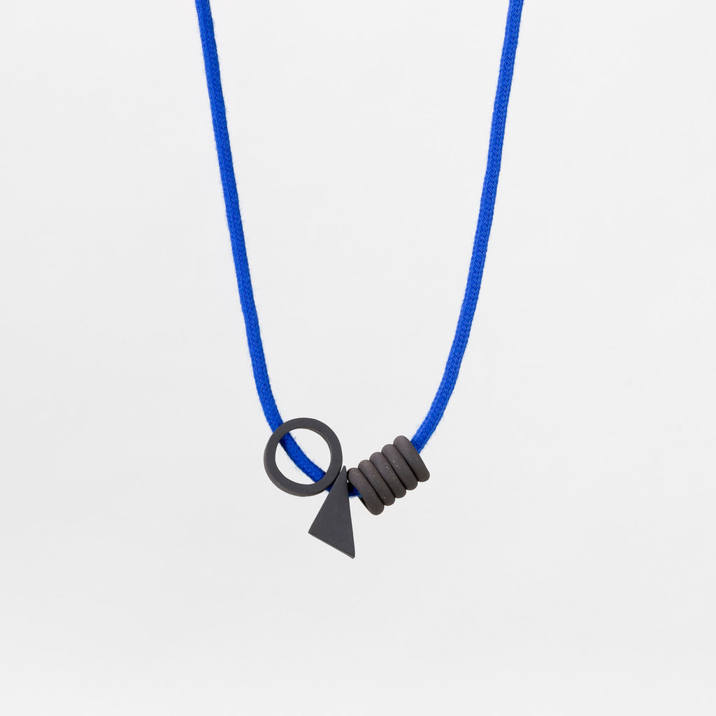 Yves Necklace in black stoneware and blue cord (front) | handmade ceramic jewellery by Labrador