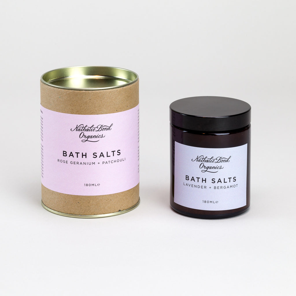 Bath Salts (Lavender and Rose) by Nathalie Bond Organics | Natural Organic Skincare at Labrador