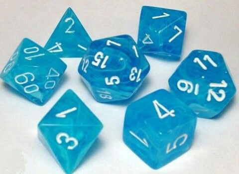 Chessex Polyhedral 7-Die Set Cirrus Light Blue w/White 27446