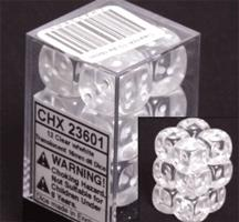 Chessex 12 16mm Pipped D6 Dice Block Translucent Clear with White 23601